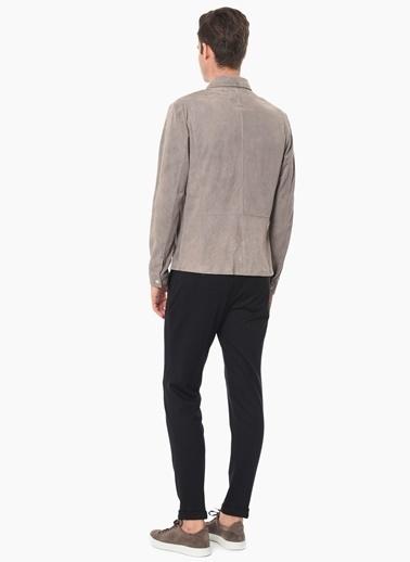 Que %100 Deri Slim Fit Uzun Kollu Gömlek Gri